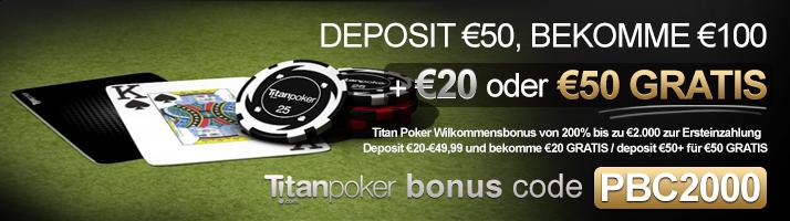 Titan Poker Bonus Code für €25 to €50 Gratis